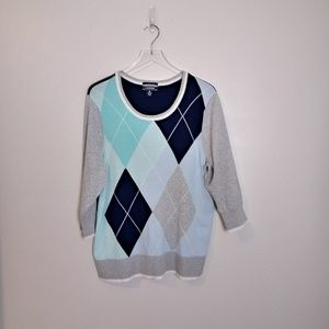 Lands' End Argyle 3/4 Sleeve Sweater